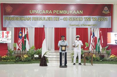Dansesko TNI Buka Pendidikan Reguler Ke-48 Sesko TNI Secara Virtual