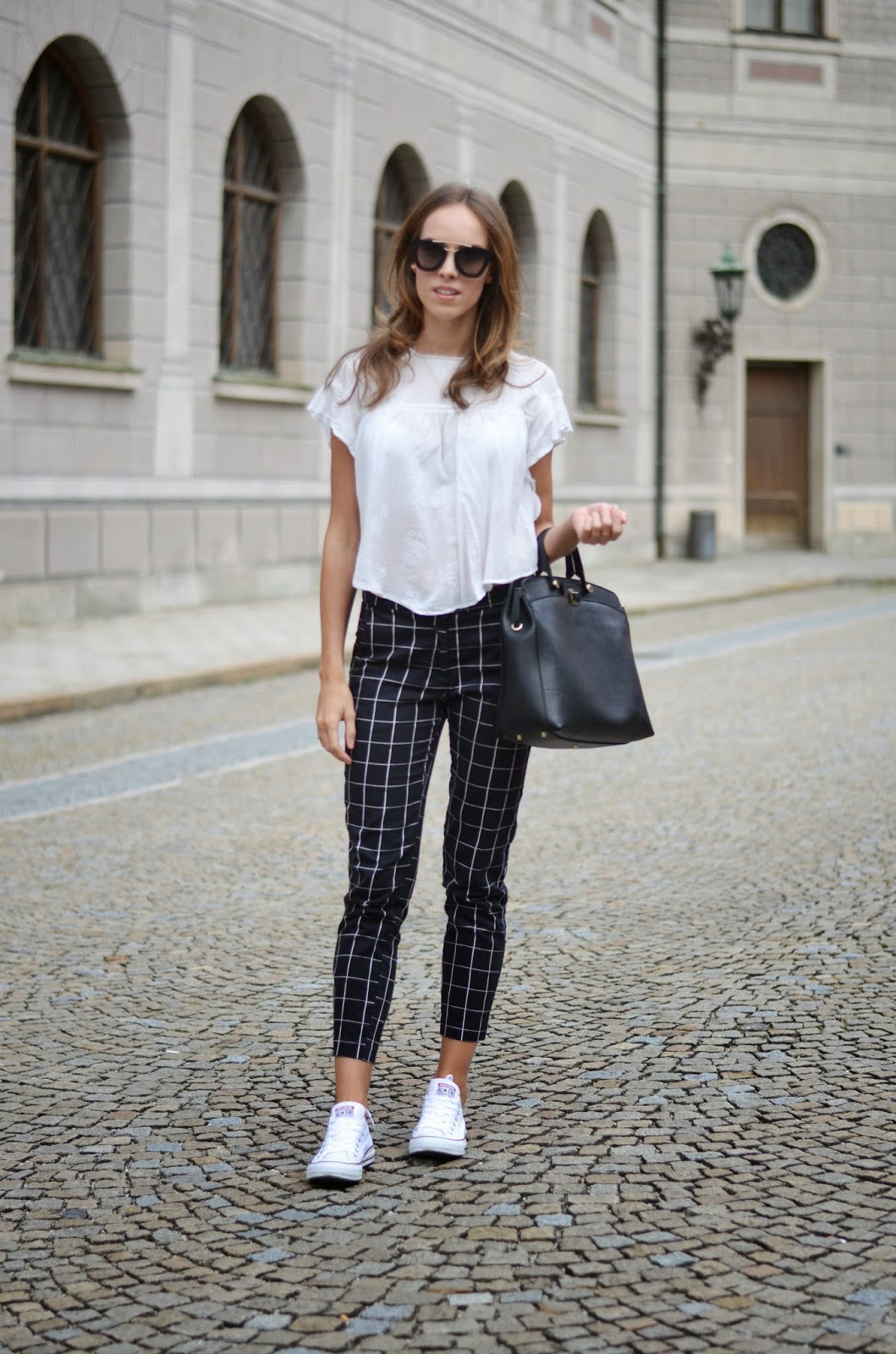 kristjaana mere white ruffle top black check print trousers