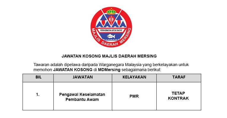 Jawatan Kosong Majlis Daerah Mersing
