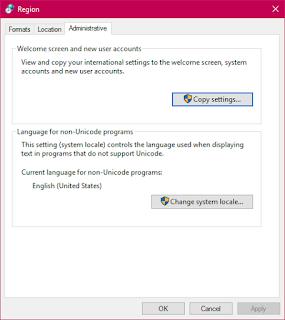 Windows region settings, administrator tab