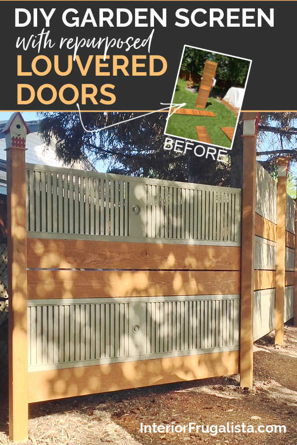A budget-friendly DIY Privacy Fence or Garden Screen idea made with salvaged and repurposed wooden louvered bi-fold doors, a unique outdoor fence idea. #repurposedlouvereddoors #diyfence #diygardenscreen #repurposedbifolddoors