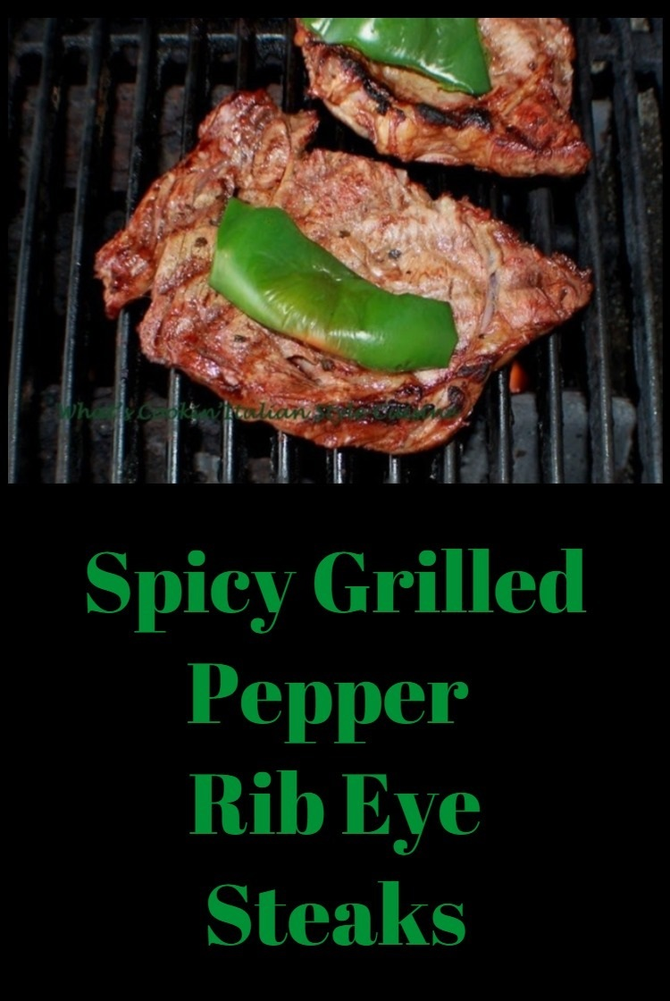 these grilled rib eye steaks are marinaded with a little spicy and sweet sauce homemade then grilled with peppers on top