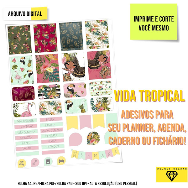 Vida Tropical Adesivos para imprimir