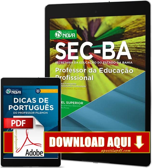 Apostila SEC BA 2017 PDF Download Professor da Educação Profissional