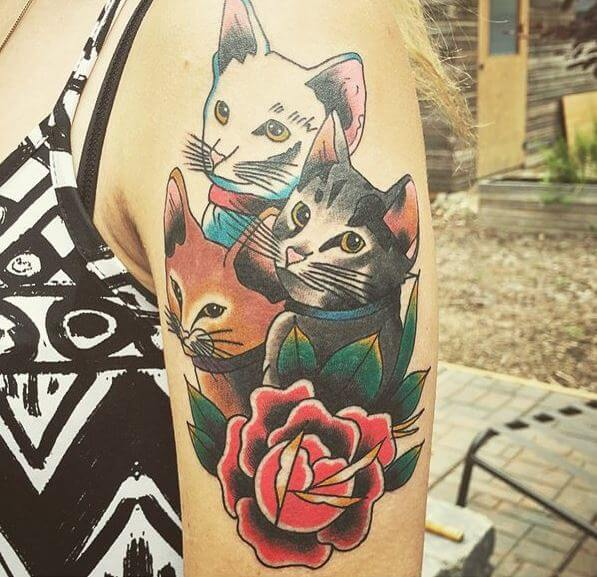 neo traditional Cat Tattoos