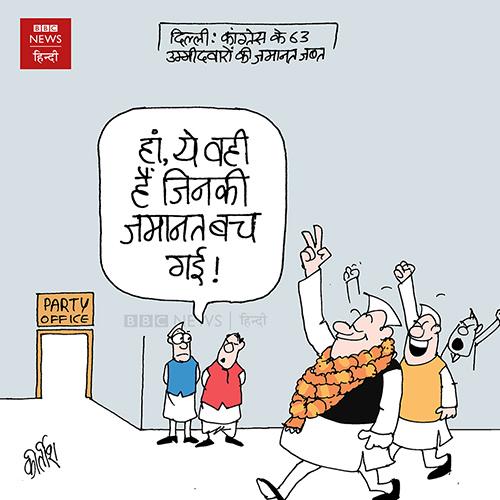 cartoons on politics, indian political cartoon, cartoonist kirtish bhatt, Delhi election, congress cartoon