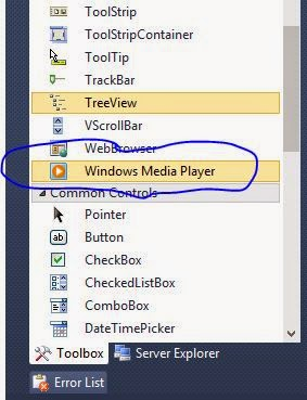 window media player in the toolbox