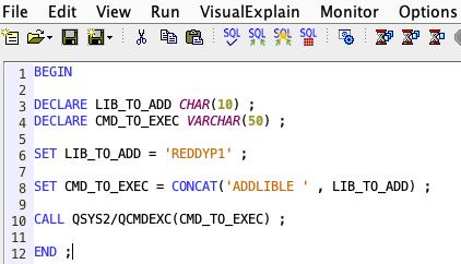 QCMDEXC in SQL Procedure