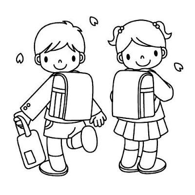Tranh tô màu bé đến trường học