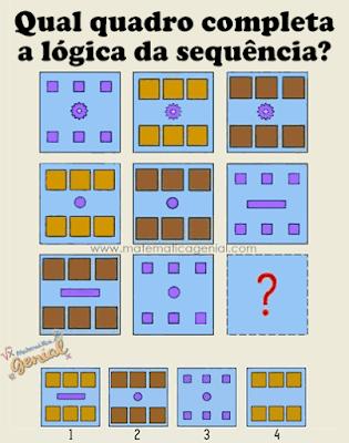 Raciocínio lógico: Qual quadro completa a lógica da sequência?