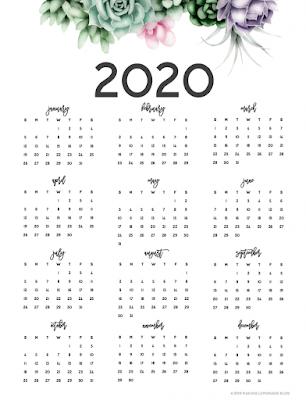 year at a glance calendar 2020