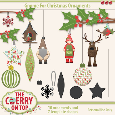 Gnome For Christmas Ornaments with templates