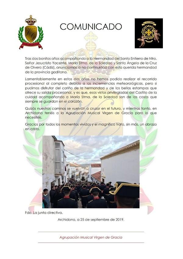 El próximo Viernes Santo, la A.M. Virgen de Gracia no volverá a acompañar a la Hermandad Del Santo Entierro de Olvera (Cádiz).