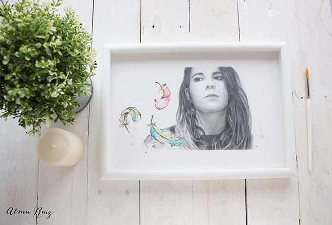 Retrato de Deborah Oye Deb a lápiz y acuarela