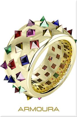♦Armoura Fibonacci ring in yellow gold with coloured stones #jewelry #armoura #brilliantluxury