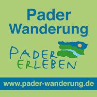 """Das grüne Logo mit der Aufschrift """"Pader Wanderung Pader Erleben"""""""