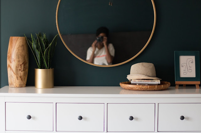 dark green walls in a master bedroom