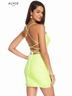 scoope Neckline Alyce paris short Dress Citronelle color Back side