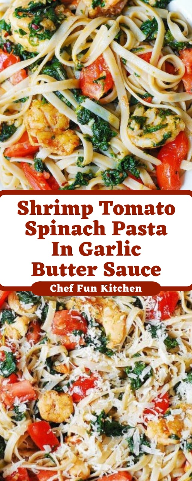 Shrimp Tomato Spinach Pasta In Garlic Butter Sauce