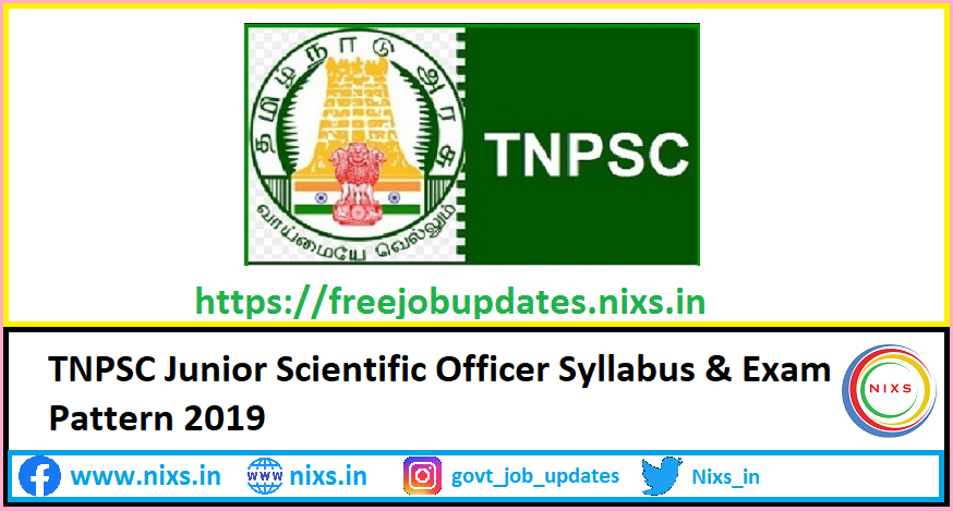 TNPSC Junior Scientific Officer Syllabus & Exam Pattern 2019 | Free