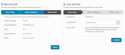 Pembelian bitcoin berhasil