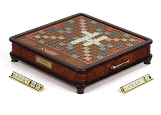 Image: Scrabble Luxury Edition Board Game | by Winning Solutions | Elegant two-tone wooden cabinet with burled wood veneers
