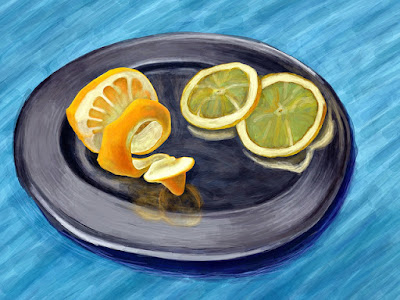 David Hockney -stilllife peeled lemon with slices