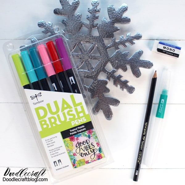 Stocking Stuffers #2: Hand Lettering ($26.27) Dual Brush Pens 6 Pack: $16.99 MONO Drawing Pencil: $1.40 Water Brush: $6.99 MONO Eraser Small: $.89