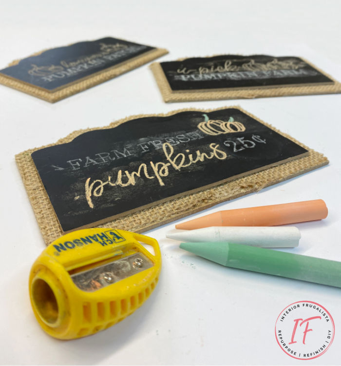 How to upcycle dollar store mini pedestal chalkboards for Fall budget decorating plus how to create chalk art on the mini chalkboards like a pro!