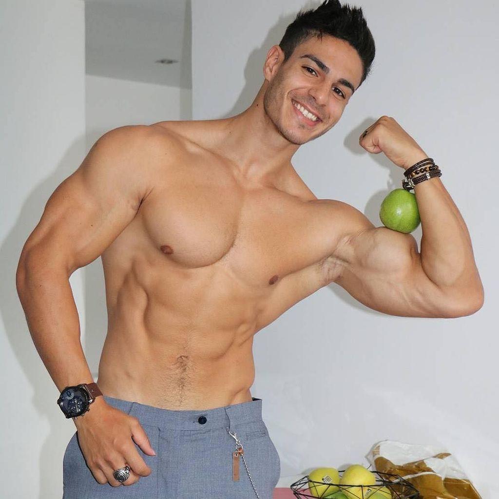 attractive-muscular-men-loic-zine-apple-biceps-smiling-fit-hunk