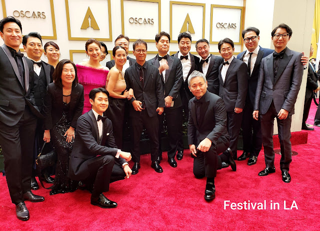 Parasite cast and creo on Oscar Night