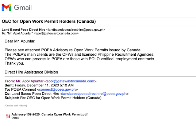 POEA Advisory Re Open Work Permits Issued by Canada