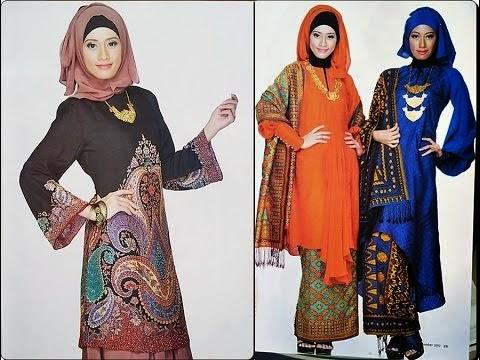 Model Baju Batik Untuk Orang Gemuk Kerja Kantor Muslim Kombinasi Gamis