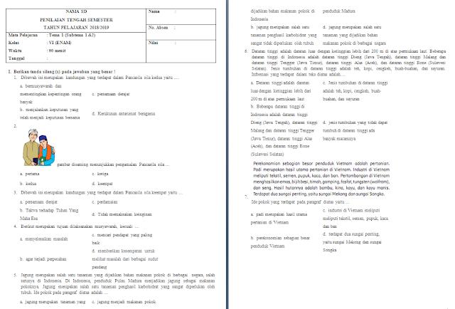 Soal UTS Kelas 6 Tema 1 Subtema 1-2