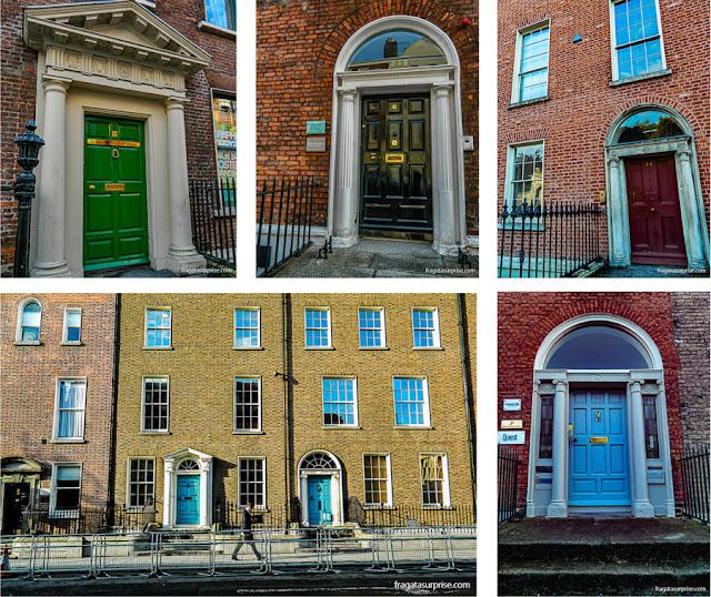 As famosas portas coloridas de Dublin, característica da arquitetura georgiana na cidade