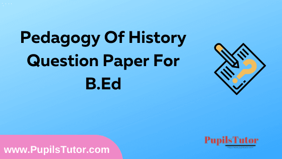 Pedagogy Of History Question Paper For B.Ed 1st And 2nd Year And All The 4 Semesters In English, Hindi And Marathi Medium Free Download PDF | Pedagogy Of History Question Paper In English | Pedagogy Of History Question Paper In Hindi | Pedagogy Of History Question Paper In Marathi