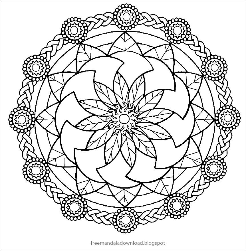 Druckbare Mandala Malvorlagen für Erwachsene