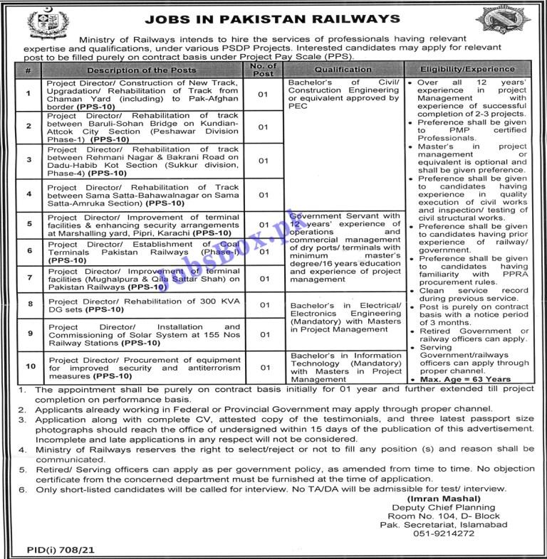 Pakistan Railways PR Jobs 2021 Latest – www.pakrail.gov.pk
