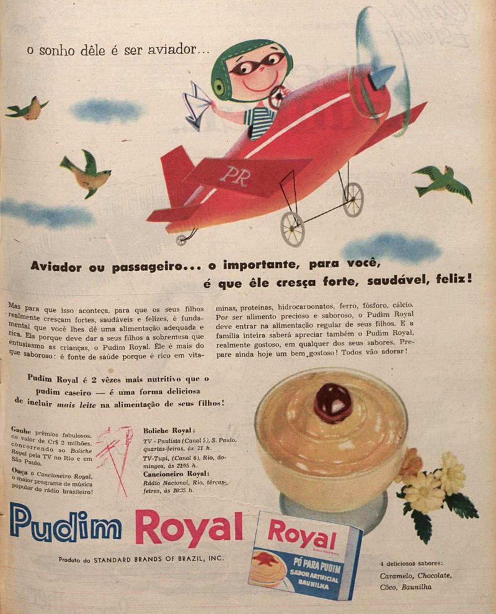 Anúncio da Royal veiculado em 1957 promovendo sua linha de pudins