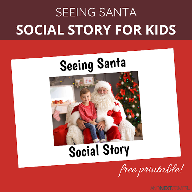 Free printable social story for kids about visiting Santa at Christmas time