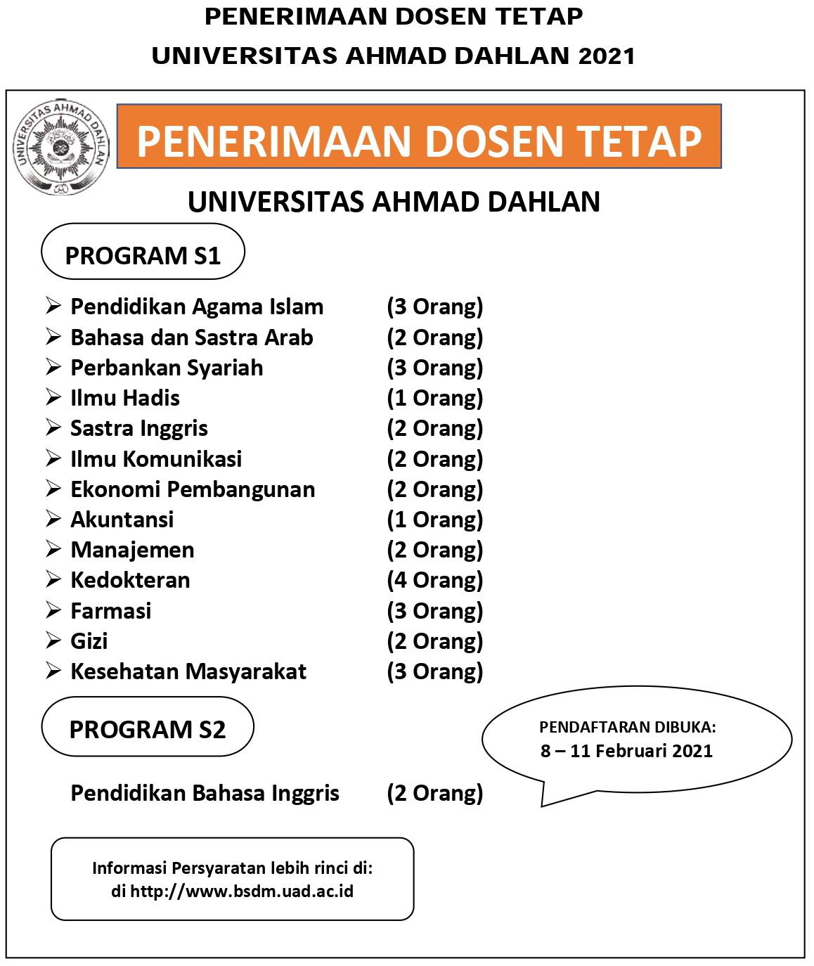 Rekrutmen Dosen, Tenaga Kependidikan dan Temporary Staff Universitas Ahmad Dahlan Tahun 2021