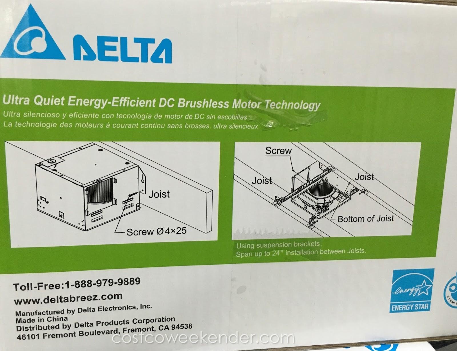 Bathroom Lights Costco delta breez ventilation system bath fan and led light (vfb80hled2