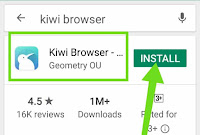 Kiwi Browser install button Play store
