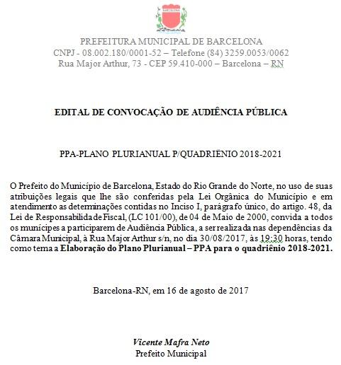BARCELONA/RN: Edital de Convocação para Audiência Pública do PPA