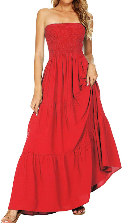 Red Strapless Maxi Dresses