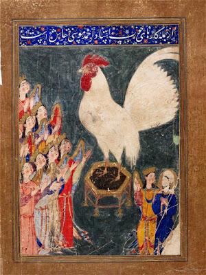 Suurensuuri valkoinen kukko ja Muhammad (rh) ja enkeleitä
