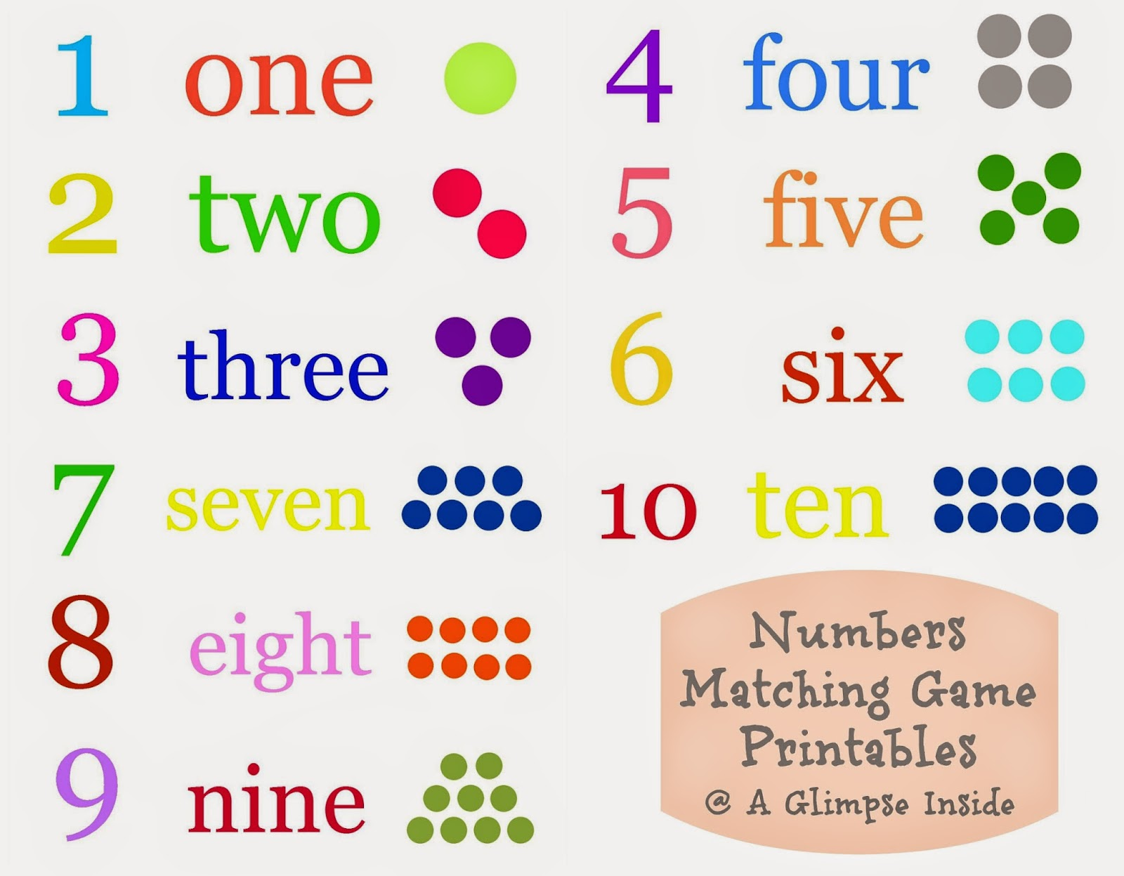Numbers Matching Game Printables