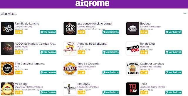 Aplicativo AIQFOME Itapema