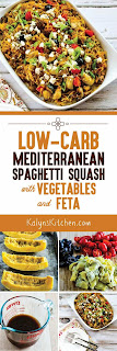 Low-Carb Mediterranean Spaghetti Squash Sauteed with Vegetables and Feta found on KalynsKitchen.com