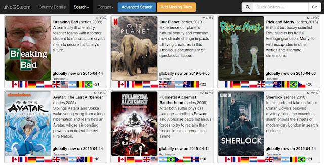 uNoGS - Vê os títulos da Netflix disponíveis por país e as novidades!